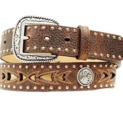 New Ariat Men's Brown Cutout & Concho Leather Belt A1015202