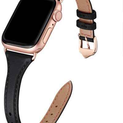 New WFEAGL Leather Bands Compatible with Apple Watch 38mm 40mm 42mm 44mm, Top Grain Leather Band Slim & Thin Replacement Wristband for iWatch Series
