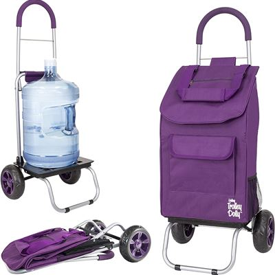 New Trolley Dolly, Purple Shopping Grocery Foldable Cart