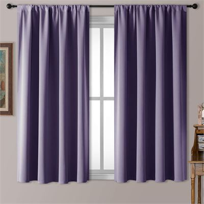 New Rutterllow Blackout Curtains for Living Room, Thermal Insulated Rod Pocket Drapes for Bedroom, 2 Panels (52x63 Inch, Purple)