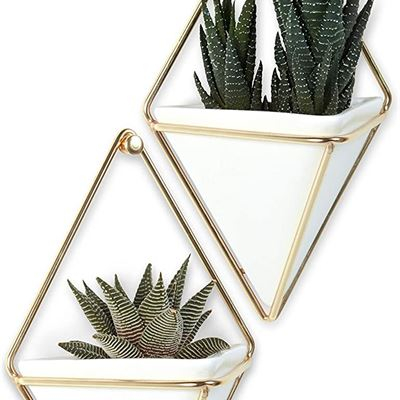 New Umbra Trigg Hanging Planter & Geometric Wall Decor (Small, Set of 2) - Great For Succulent Plants-White Ceramic/Brass