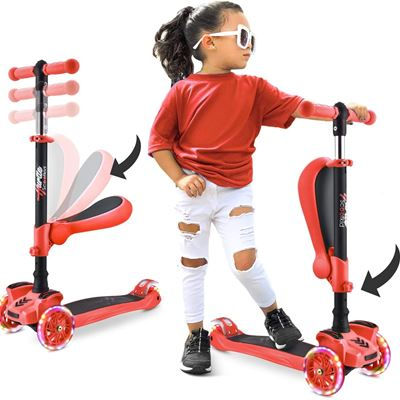New Hurtle 3 Wheeled Scooter for Kids 2-in-1 Sit/Stand Child Toddlers Toy Kick Scooters w/Flip-Out Seat Adjustable Height Wide Deck Flashing Lights