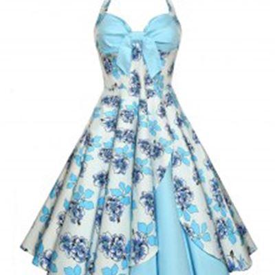 New Backless Floral Print Vintage Dress - Light Blue 2xl