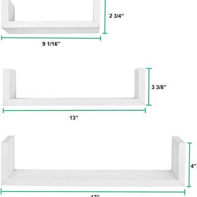 New Greenco Set of 3 Floating U Shelves, White Finish