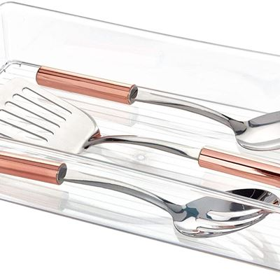 "New iDesign Plastic Kitchen Storage Organizer Binz with Handles for Pantry, Refrigerator, Freezer, and Storage Cabinet, 16"" x 8"" x 3"", Clear"