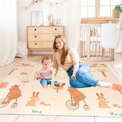 New Baby Play Mat Foldable Playmat Extra Large Foam Mat Reversible Baby Crawling Mat Room Decor Transforms into Large Fun Activity Gym Mat