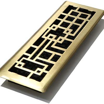 "New Decor Grates ABH414-SB Abstract Floor Register, Satin Brass Finish, 4"" by 14"""