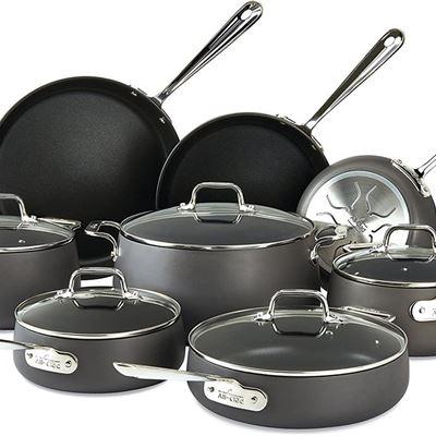 NEW All-Clad 13 Piece HA1 Anodized Nonstick Cookware Set, Black (2100090556), 13-Piece