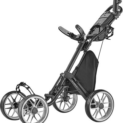 New CaddyTek 4 Wheel Golf Push Cart - Caddycruiser One Version 8 1-Click Folding Trolley - Lightweight, Compact Pull Caddy Cart, Easy to Open