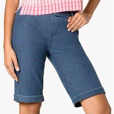 New Hue Women's Essential Stretch Denim Boyfriend Shorts Cuffed U17490 Size S~NWT