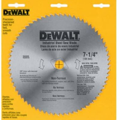 New DEWALT DW3329 7-1/4-Inch 68 Tooth Steel Non-Ferrous Metal Cutting Saw Blade with 5/8-Inch and Diamond Knockout Arbor