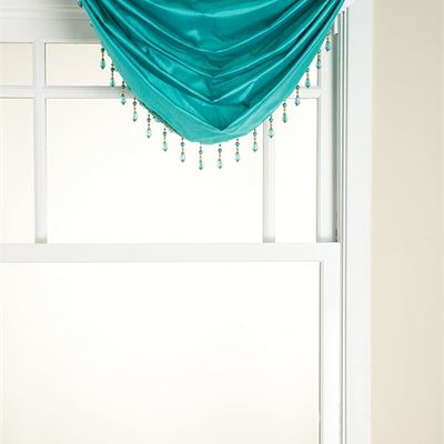 New Stylemaster Tribeca Faux Silk Grommet Waterfall Valance with Beaded Trim, Turquoise, 36 by 37-Inch