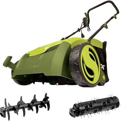 New Sun Joe AJ801E 12-Amp 13-Inch Electric Dethatcher and Scarifier w/Removeable 8-Gallon Collection Bag, 5-Position Height Adjustment