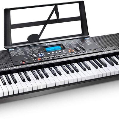 New Electric Keyboard Piano 61-Key, Ohuhu Digital Piano Keyboard with USB Port & Teaching Modes for Beginners