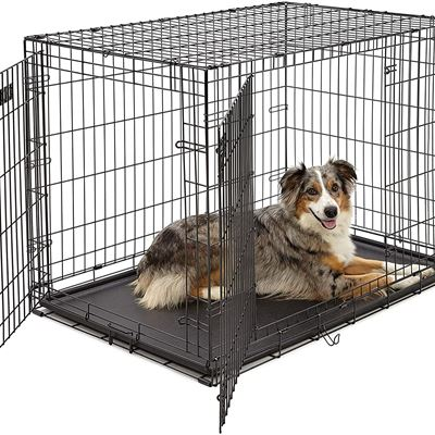 New Large Dog Crate | MidWest iCrate Double Door Folding Metal Dog Crate | Divider Panel, Floor Protecting Feet, Leak-Proof Dog Tray