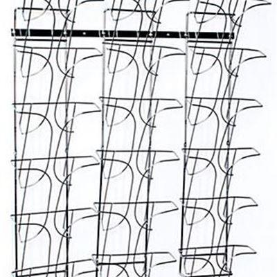 """New 7-Tier Metal Wire Magazine Wall Rack, 8.5""""w, 21 Pockets - Chrome"""