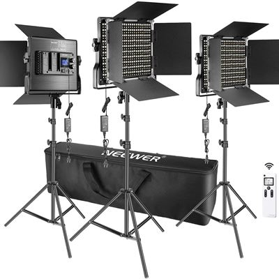 New Neewer 3 Packs Advanced 2.4G 660 LED Video Light Photography Lighting Kit, Dimmable Bi-Color LED Panel with LCD Screen