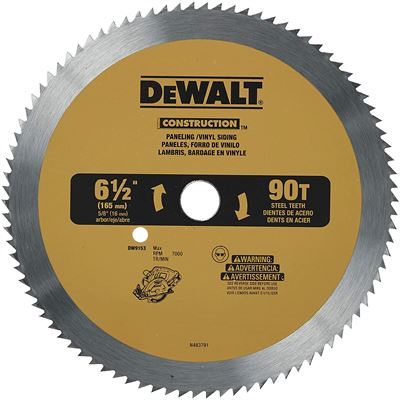 New DEWALT DW9153 6-1/2-Inch 90 Tooth Paneling and Vinyl Cutting Saw Blade with 5/8-Inch Arbor