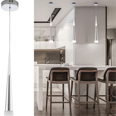 Harchee Mini Modern Pendant Light in Silver Brushed Finish with Acrylic Shade, Adjustable LED Cone Pendant Lighting Fixture