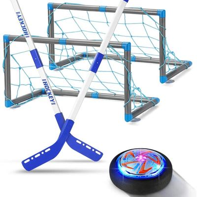 New INDARUN Hover Hockey Kids Toys Set, LED Hockey Hover Set 2 Goals, Air Power Training Soccer Hover Ball, Indoor Outdoor Games Sport Toys
