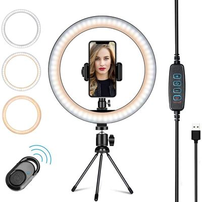"""New 10"""" Selfie Ring Light with Tripod Stand & Cell Phone Holder, YOUXIU Dimmable Led Camera Beauty Ringlight for Live Stream"""
