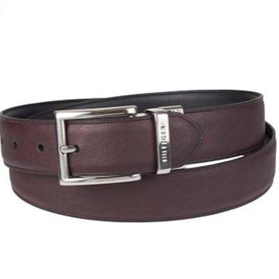 New Tommy Hilfiger Men's Dress Reversible Belt with Polished Nickel Buckle