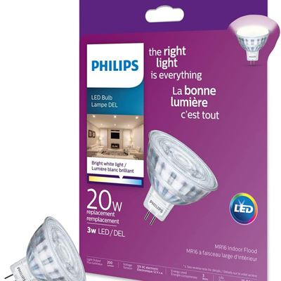 New Philips 470328 Led 20W MR16 Glass Bright White (3000K) Non-Dimmable
