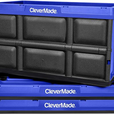 New CleverMade CleverCrates 62 Liter Collapsible Storage Bin/Container: Solid Wall Utility Basket/Tote, Royal Blue, 3 Pack