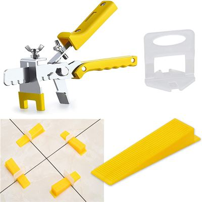 New Tile Leveling System Tile Leveling Pliers - Lippage free tile and stone installation for PRO and DIY - 300 Piece Leveling Spacer Clips 100-Piece