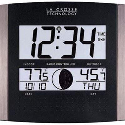 New La Crosse Technology WS-8117U-IT-AL Atomic Wall Clock with Indoor/Outdoor Temperature