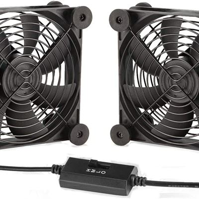 New KOTTO Big Airflow Dual 80mm Fans DC 5V Powered Fan with 3 Speed Control, Cabinet Chassis Cooling Fan, Server Workstation Cooling Fan