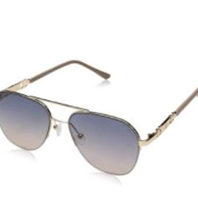 New Rocawear Women's R3282 Semi-Rimless Geometric Metal Aviator Sunglasses with Chain-Link Temple & 100% UV Protection, 55 mm