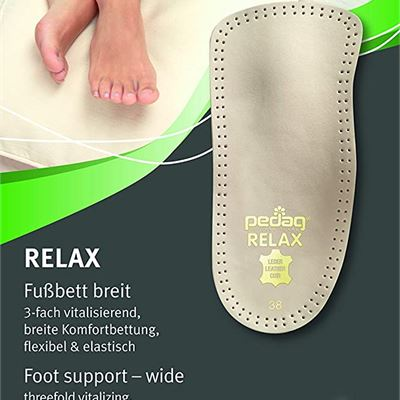 New Pedag 127/128 Relax 3/4 Length Anatomically Shaped Leather Insole with Flexible Latex Heel Cup, Arch Support and Metatarsal Pad, Tan, Men's 11