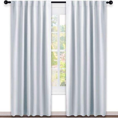 New NICETOWN Energy Saving Bedroom Drapes - Rod Pocket & Back Tab Room Darkening Window Curtains (W52 x L84, Platinum & Greyish White, 2 Pcs)