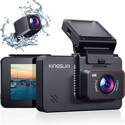 """New Kingslim D4 4K Dual Dash Cam with Built-in Wi-Fi GPS, Front 4K/2.5K Rear 1080P 3"""" IPS Touchscreen 170? FOV Dashboard Camera"""