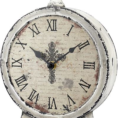 """New Stonebriar Large 12 Inch Decorative Battery Operated Table Top Clock with Roman Numerals and Antique Finish, 12"""", Worn White"""