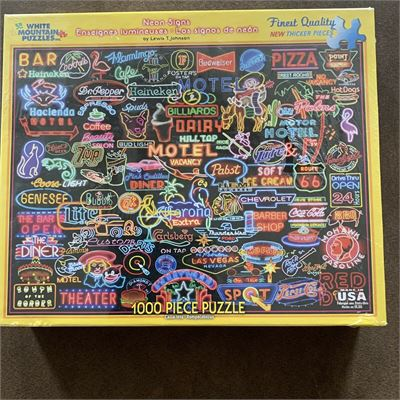 New White Mountain Jigsaw Puzzles Neon Signs 1000 Piece Puzzle Made In USA