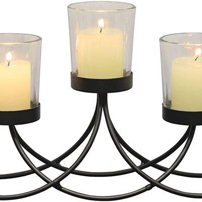 New Briarwood Black Metal Votive Candelabra, Decorative Candle Centerpiece, Elegant Candle Holders, Centerpiece