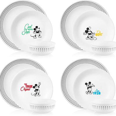 New Corelle-Disney-Mickey-Mouse-The True Original, 12 Piece-Dinnerware Set