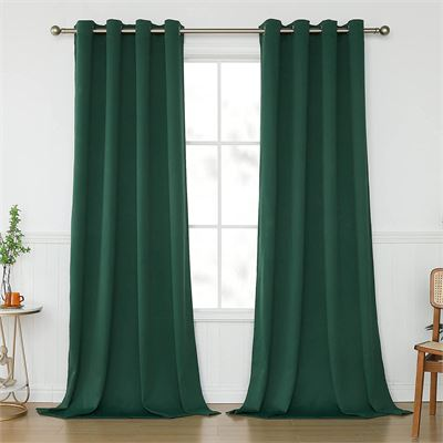 New KEQIAOSUOCAI Emerald Green Curtain 108 Inch Length for Living Room Top Grommet Thermal Insulated Dark Hunter Green Blackout Extra Long Curtains