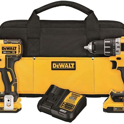 New DEWALT 20V MAX* XR Cordless Drill Combo Kit, Brushless, 2-Tool (DCK283D2)
