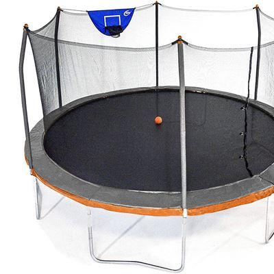New Skywalker Trampolines 15� Round Jump N' Dunk Trampoline with Enclosure and Basketball Hoop � Gray & Orange