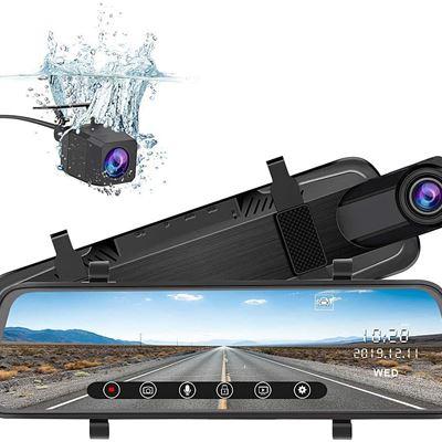 New j Junsun Mirror Dash Cam Backup Camera 10 Inch Touch Screen 1080P Stream Media Dual Lens Full HD Reverse Camera 170 Degrees Wide Angle