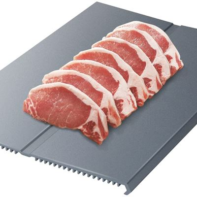 New Nuovoware Fast Defrost Tray Premium HDF Aeronautical Aluminum Alloy Thawing Plate Thaw Frozen Meat or Food Quickly and Safely Without Electricity