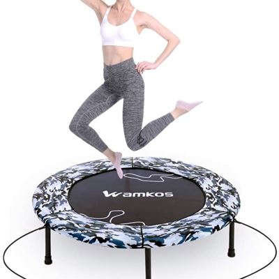 """New Wamkos 40"""" Rebounder Mini Exercise Trampoline for Adults Kids,Outdoor/Indoor Foldable Fitness Trampoline Trainer with Resistance Bands"""