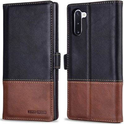 New KEZiHOME Samsung Galaxy Note 10 Wallet Case, Genuine Leather Note 10 Case RFID Blocking Credit Card Slot Flip Magnetic Stand Case Compatible
