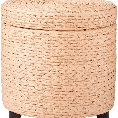 NEW Oriental Furniture Price Bargain Design End Table, 17-Inch Woven Water Hyacinth Rattan Style Round Lidded Foot Stool Basket, Natural