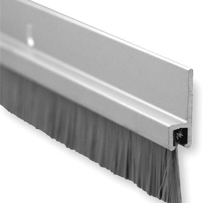 """New Pemko Brush Door Bottom Sweep, Clear Anodized Aluminum with 0.625"""" Gray Nylon Brush Insert, 0.25"""" Width, 1.375"""" H x 48"""" L - 18061CNB48"""