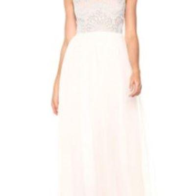 New Adrianna Papell Womens Beaded Bodice Spaghetti Strap Mesh Bridal Long Dress
