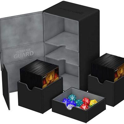 New Ultimate Guard-200 Card Twin Flip N Tray Deck Case-Xenoskin Black